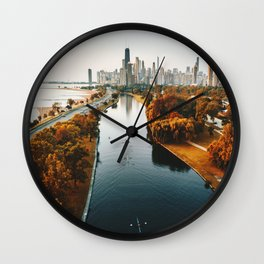 chicago aerial view Wall Clock