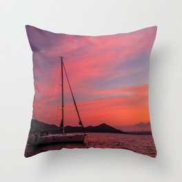 Sailing Boats Against a Purple Sky Throw Pillow