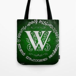 Joshua 24:15 - (Silver on Green) Monogram W Tote Bag