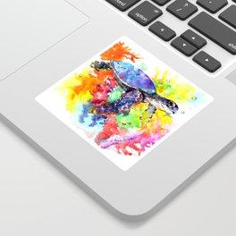 Sea Turtle in Coral Reef design, sea world colorful coral sea world design Sticker