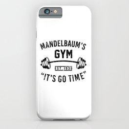 Mandelbaun's gym. Workout bodybuilding running yoga fitness gifts iPhone Case