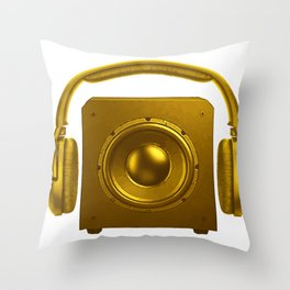 Retro Speakers Sound System Graphic Tee Shirt GiftVintage Headphones Over Speakerbox Novelty Men Throw Pillow