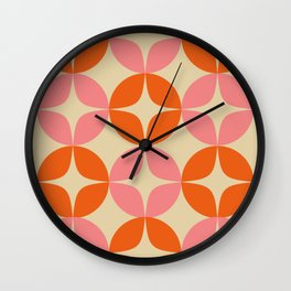 Mid Century Modern Pattern in Pink and Orange Wall Clock