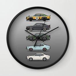 Stack of Mazda Savanna GT RX-3 Coupes Wall Clock