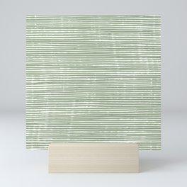Abstract Stripes, Sage Green, Boho Wall Art Mini Art Print