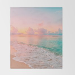 Beautiful: Aqua, Turquoise, Pink, Sunset Relaxing, Peaceful, Coastal Seashore Throw Blanket