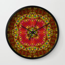 Peacock Feathers - Gold Wall Clock