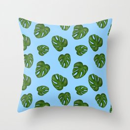 Monstera Leaf-blue Throw Pillow