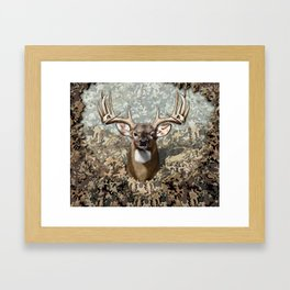 Whitetail Buck and Camo Framed Art Print