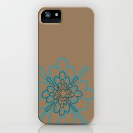 Tan and Teal Patten iPhone Case