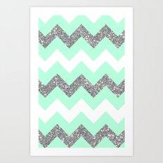 seafoam glitter chevron Art Print