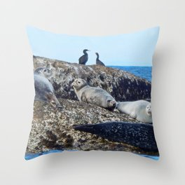 Seal pups, Seals  and Cormorants Throw Pillow