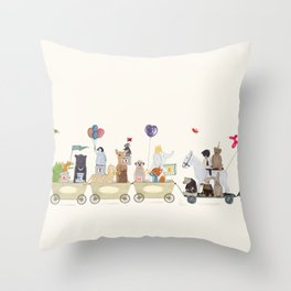 big playtime parade Throw Pillow