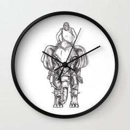 War Elephant Mahout Rider Tattoo Wall Clock