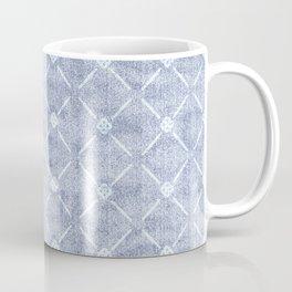 Faux Velvet Light Blue and White Diamond Pattern Coffee Mug