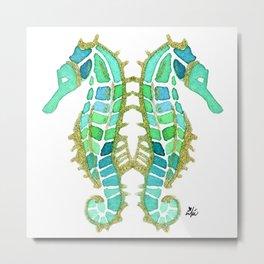 Aqua and Gold Seahorse  Metal Print