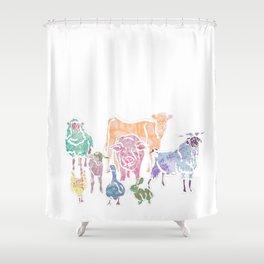 The Colourful Farm Sanctuary Shower Curtain