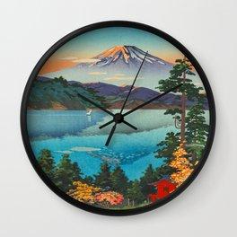 Tsuchiya Koitsu Vintage Japanese Woodblock Print Fall Autumn Mount Fuji Wall Clock