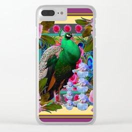 YELLOW-PUCE  PURPLE & PINK ROSES GREEN PEACOCK FLORAL Clear iPhone Case