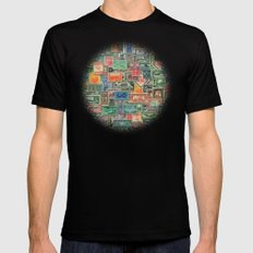 World Stamps Black MEDIUM Mens Fitted Tee
