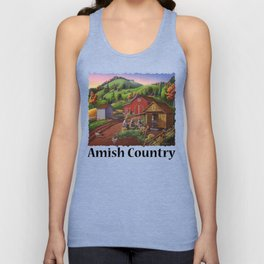Amish Country, Folk Art Americana, Farmers Shucking Harvesting Corn Farm Landscape, Autumn Unisex Tank Top