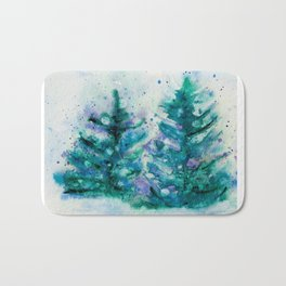 Holidaze Winter Trees w SnowFlakes watercolor by CheyAnne Sexton Bath Mat