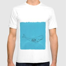 Whale White Mens Fitted Tee MEDIUM