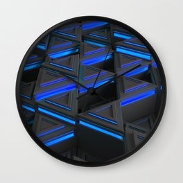 Pattern of grey triangle prisms with blue glowing lines Wall Clock