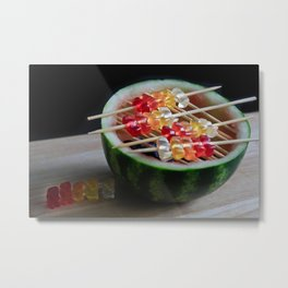 Watermelon Gummy Bears, Next In Line for The Grill Metal Print