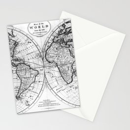 Black and White World Map (1795) Stationery Cards
