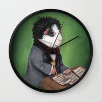 guinea pig Wall Clocks featuring Franz Schubert the Guinea Pig by When Guinea Pigs Fly