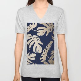 Simply Palm Leaves in White Gold Sands on Nautical Navy Unisex V-Neck