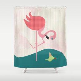 Flamingo had ice cream Shower Curtain