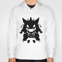 gengar Hoodies featuring Who's That Inkblot?  It's Gengar! by DelverStudios