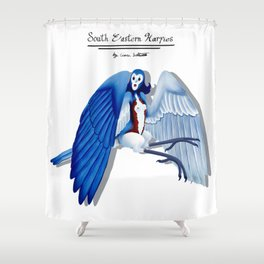 Blue Bird Harpy Shower Curtain