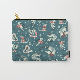 Winter herps in dark blue Carry-All Pouch