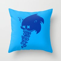sonic Throw Pillows featuring Sonic by La Manette