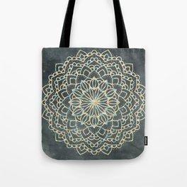 Sea Shimmer Mandala - Gold + Turquoise Tote Bag
