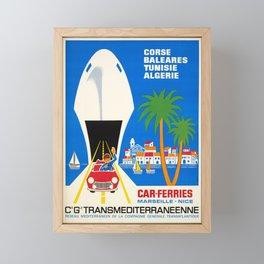 corse baleares tunisie algerie car vintage Poster Framed Mini Art Print