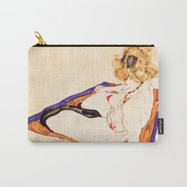 Egon Schiele - Blonde nude model sitting on brown cloth Carry-All Pouch