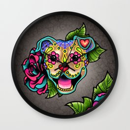 Smiling Pit Bull in Fawn - Day of the Dead Pitbull Sugar Skull Wall Clock
