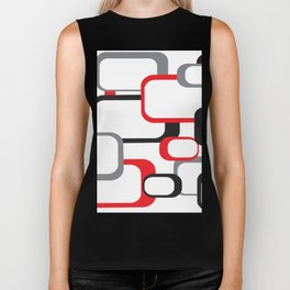 Red Black Gray Retro Square Pattern White Biker Tank