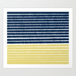 Gold and Navy Blue brush Strokes Art Print