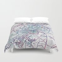 austin Duvet Covers featuring Austin map by MapMapMaps.Watercolors