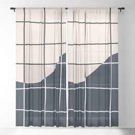 Black and White Grid Sheer Curtain