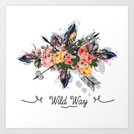 Art boho design with arrows, feathers and flowers. Wild way Art Print