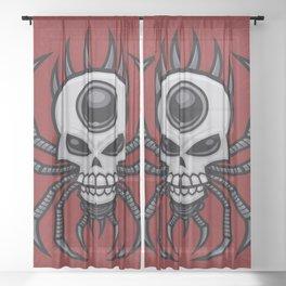 Skull Spider Sheer Curtain