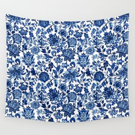 Vintage Decorative Print - Classic Blue Wall Tapestry