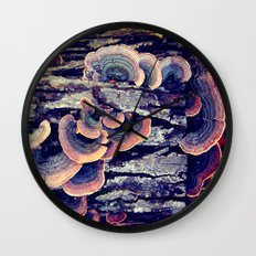 Wood Mushrooms Wall Clock