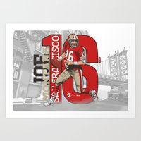 49ers Art Prints featuring NFL Legends: Joe montana 49ers by Akyanyme